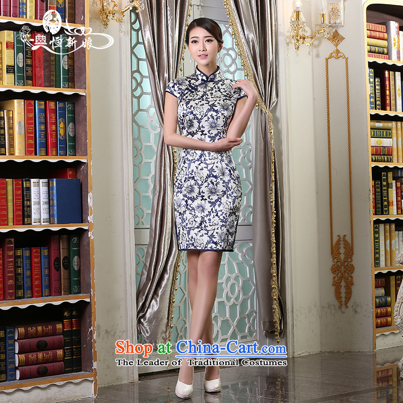 Qipao long 2015 Autumn new dresses and Stylish retro daily video   improved thin dress cheongsam dress marriages bows service daily style qipao 3�M