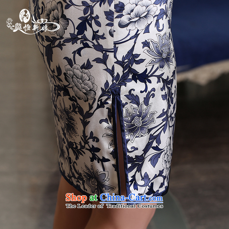 Qipao long 2015 Autumn new dresses and Stylish retro daily video   improved thin dress cheongsam dress marriages bows service daily style qipao three M noritsune bride shopping on the Internet has been pressed.