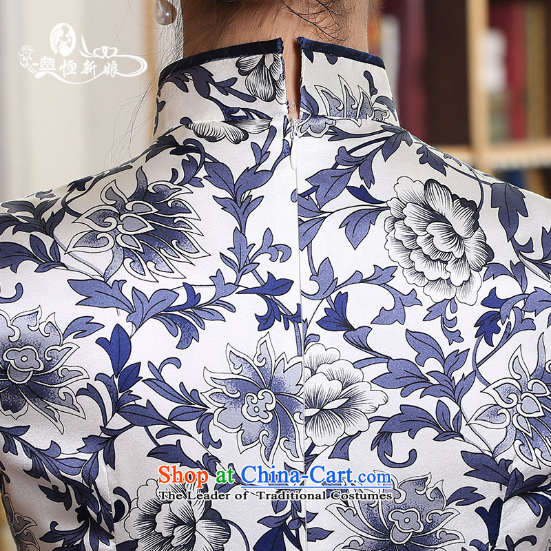 Qipao long 2015 Autumn new dresses and Stylish retro daily video   improved thin dress cheongsam dress marriages bows service daily style qipao threeM noritsune bride shopping on the Internet has been pressed.