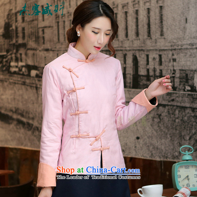 In the winter of Jericho, the girl was warm decor video thin female Chinese national wind to the Horseshoe cuff ?t��a retro hand a long-sleeved folder field detained cotton robe Tang Dynasty Flamingo Pink?L