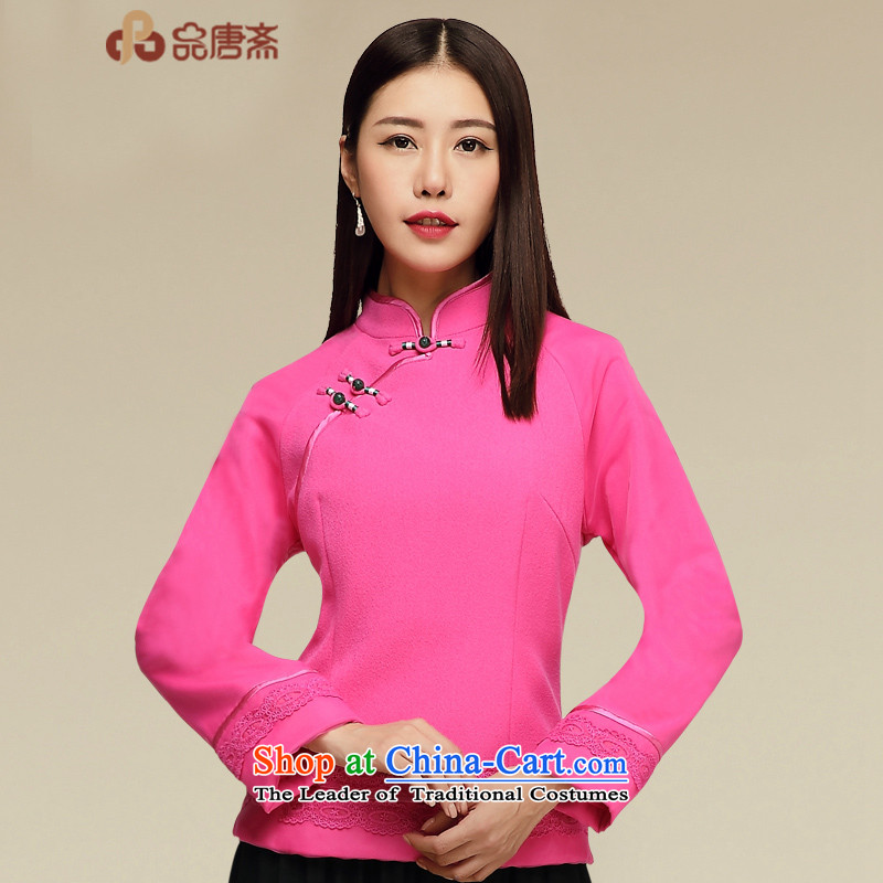 Tang Tang Dynasty Ramadan No. female 2015 autumn wind long-sleeved improvements with national qipao shirt by red燲XL