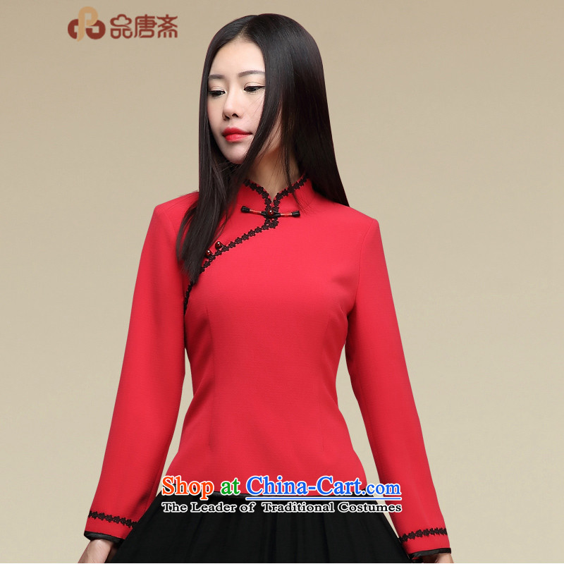 No. of Ramadan Tang Dynasty Ms. Tang Chiu-loaded Han-improved China wind long-sleeved shirt qipao retro red?S