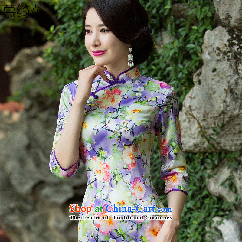 The first director of the cross-sa�15 Autumn replacing qipao cheongsam dress new stylish improvement_ Ms. cuff improved cheongsam dress燬Z3C011爈ight purple燬