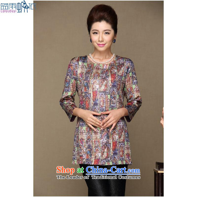 September female boutiques in older women's _ spring new moms with large video thin stylish stamp long-sleeved shirt聽XXXL gray jacket