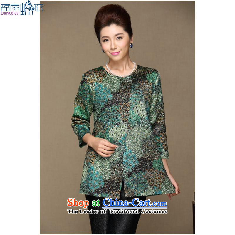 September female boutiques in older women's * spring new moms with large video thin stylish stamp long-sleeved top coat聽XXXL, gray blue rain butterfly according to , , , shopping on the Internet