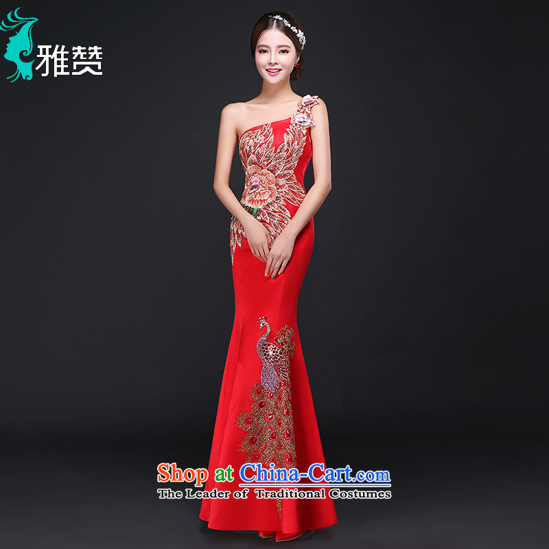 Jacob Chan bridal dresses crowsfoot long single shoulder Chinese wedding dress 2015 autumn and winter new Phoenix embroidery Sau San video thin red flower燲L