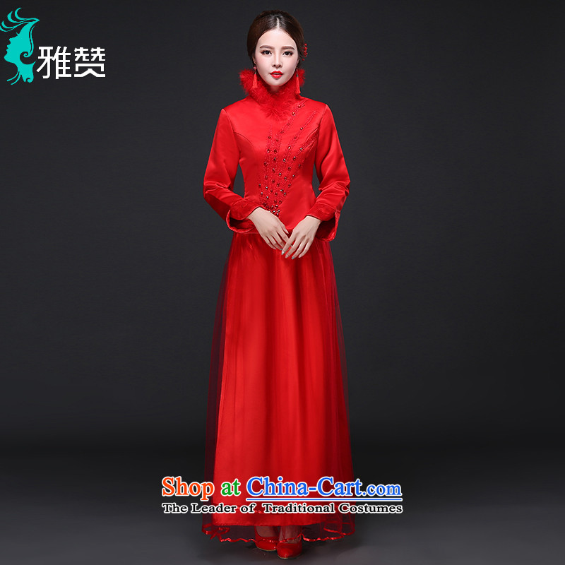 Jacob Chan marriage cheongsam dress improved Su Wo Long autumn and winter clothing 2015 new graphics thin long-sleeved bride Chinese Dress Red燲L