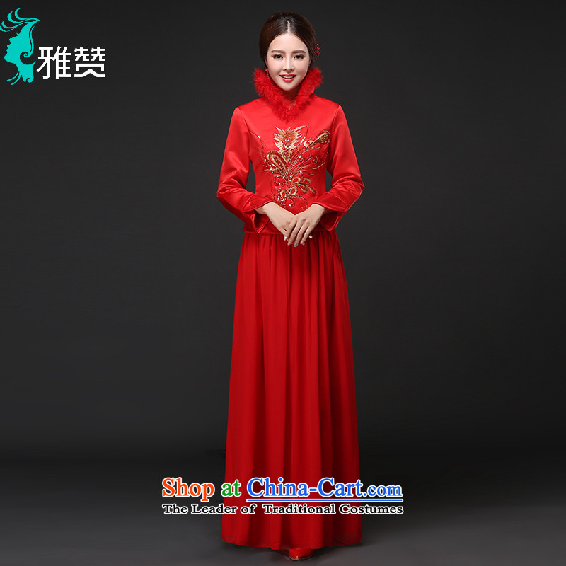 Jacob Chan bridal dresses bows to marry Chinese dress of autumn and winter long-sleeved 2015 new embroidery wedding dress female Red Red XL