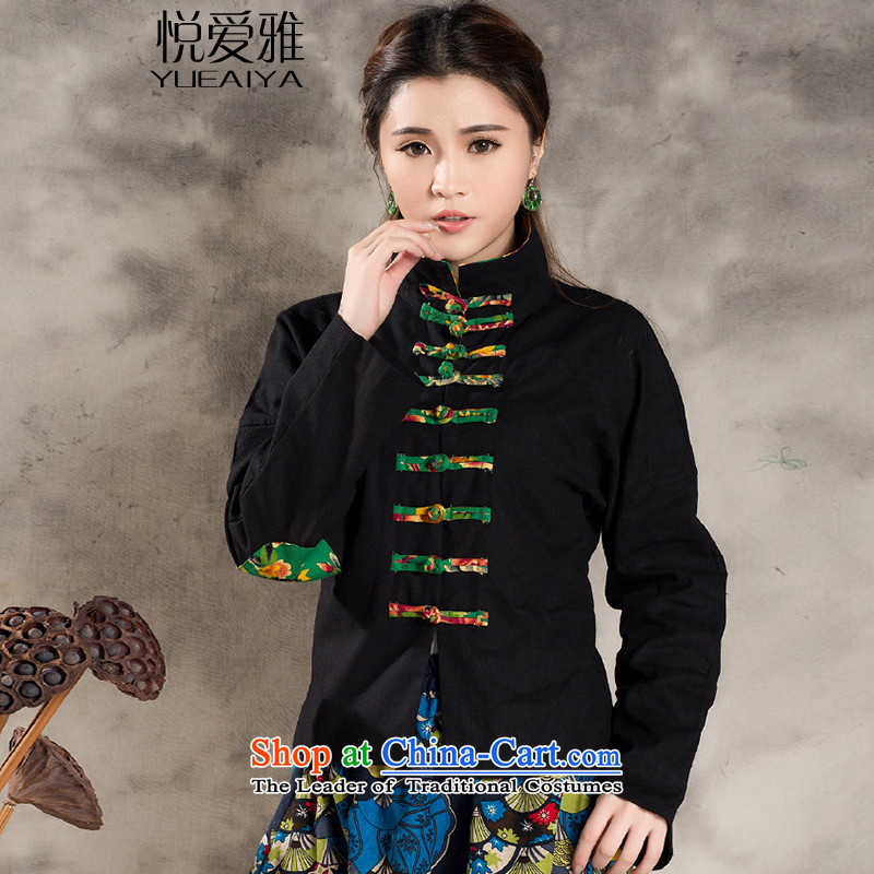 The Hyatt Regency love ya 2015 Tang dynasty through the spring and fall of ethnic cotton linen collar long-sleeved stitching CHINESE CHEONGSAM retro plane collision color jacket CJ9955 Han-Black XL