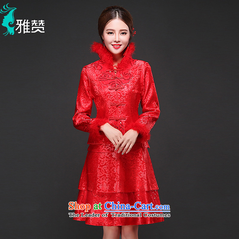 Jacob Chan bride cheongsam dress long-sleeved clothing short of bows autumn and winter 2015 New Sau San thick Chinese wedding dress red?XL