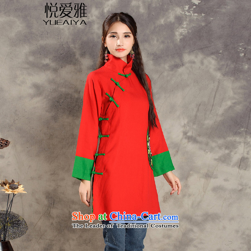 The Hyatt Regency love spring and autumn 2015 replacing retro Nga ethnic collar single row detained Chinese Disc detained embroidery long-sleeved stitching color long skirt DR9500 RED燤