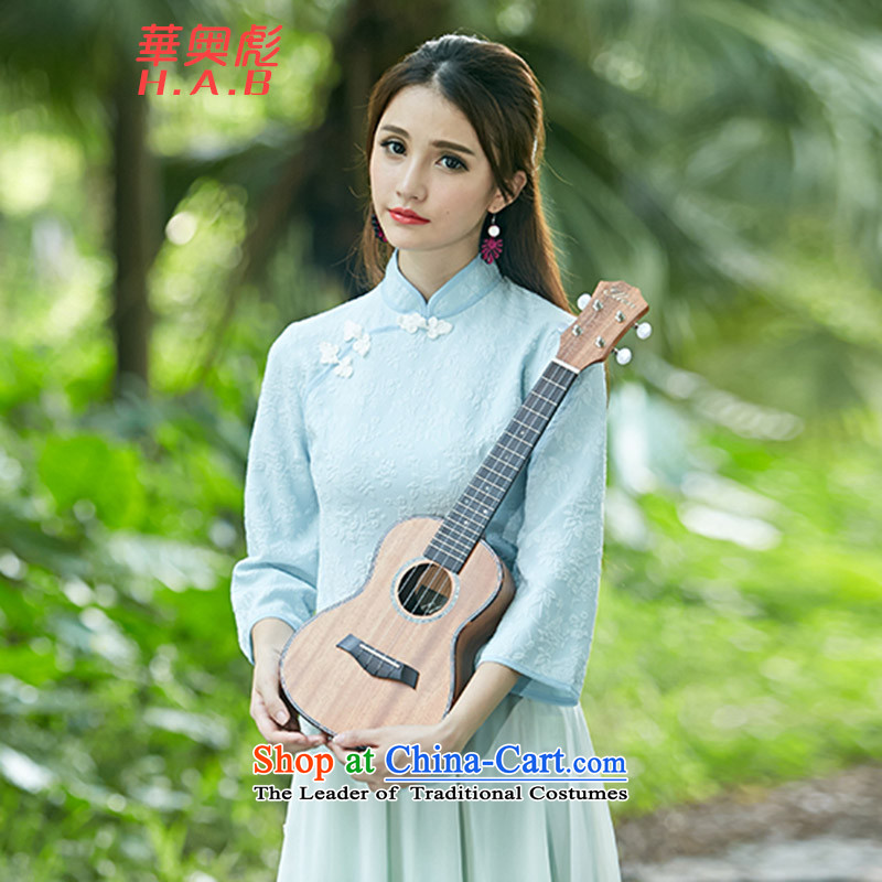 Mr. Yuen Biao 2015 Autumn Jehovah new for women retro-disc detained qipao shirt stamp costume horn sleeveless shirts X020 light blue聽L