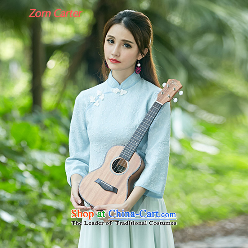 Zoun Carter 2015 Autumn new for women retro-disc detained qipao shirt stamp costume horn sleeveless shirts X020 light blue聽M