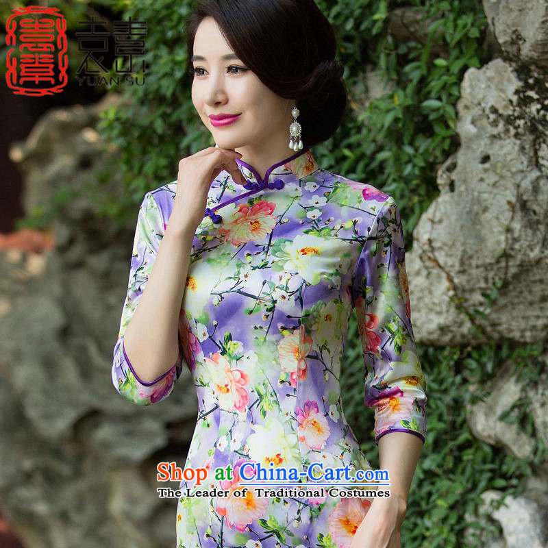 Yuan of Lau purple爎etro qipao autumn 2015 improved in the new establishment of qipao cuff Ms. stylish cheongsam dress燬Z3C011爈ight purple燲L