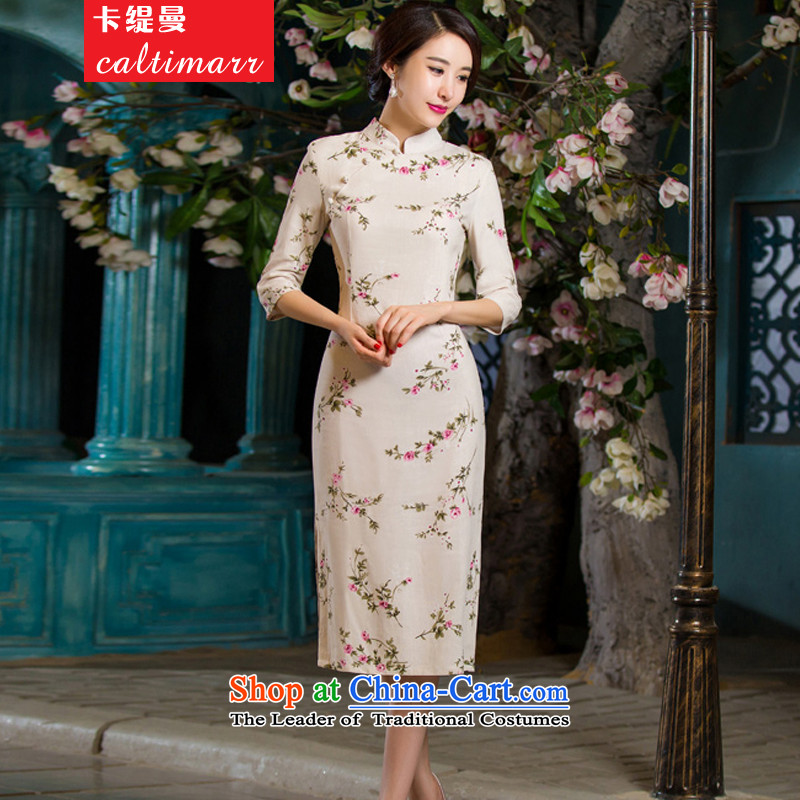 The Cayman�2015 Autumn economy card installed in Sau San video thin retro large cuff improved linen long skirt qipao day lilies�M