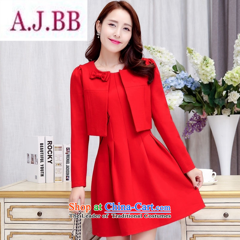 Ms Rebecca Pun stylish shops 2015 autumn and winter new marriages clothes back to door onto bows to dress two kits dresses Sau San black and red聽XL