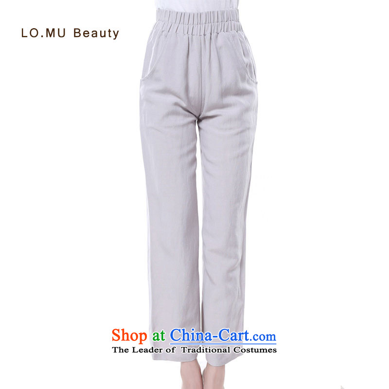 Tang dynasty women ladies pants cotton linen pants and large relaxd casual pants linen pants and a solid color爓w961 XL XL