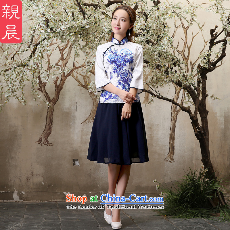 The pro-am cotton Linen Dress Shirt qipao new summer and fall of 2015, replacing the daily retro improved stylish cotton dress in sleeved shirt + Hong Kong in navy blue skirt S