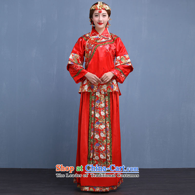 The bride wedding dress Sau Wo service-hi-soo groups serving kimono with Bong-sam Hui Dragon Chinese Dress costume use Tang dynasty married clothes with 2015 autumn and winter New Red M