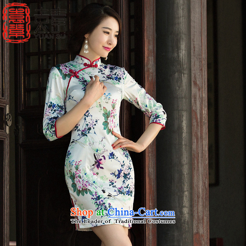 Yuan of sound slow�improvement qipao autumn 2015 retro fitted daily fashion cheongsam dress new 7 Ms. Cuff�Color 2 pictures SZ3G012 QIPAO XXL