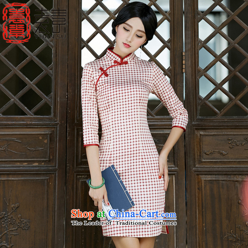Yuan of the red燼utumn 2015 replacing qipao printing improved retro style qipao skirt in new cuff cheongsam dress燬Z3G015 Ms. latticed wooden爈attices燬