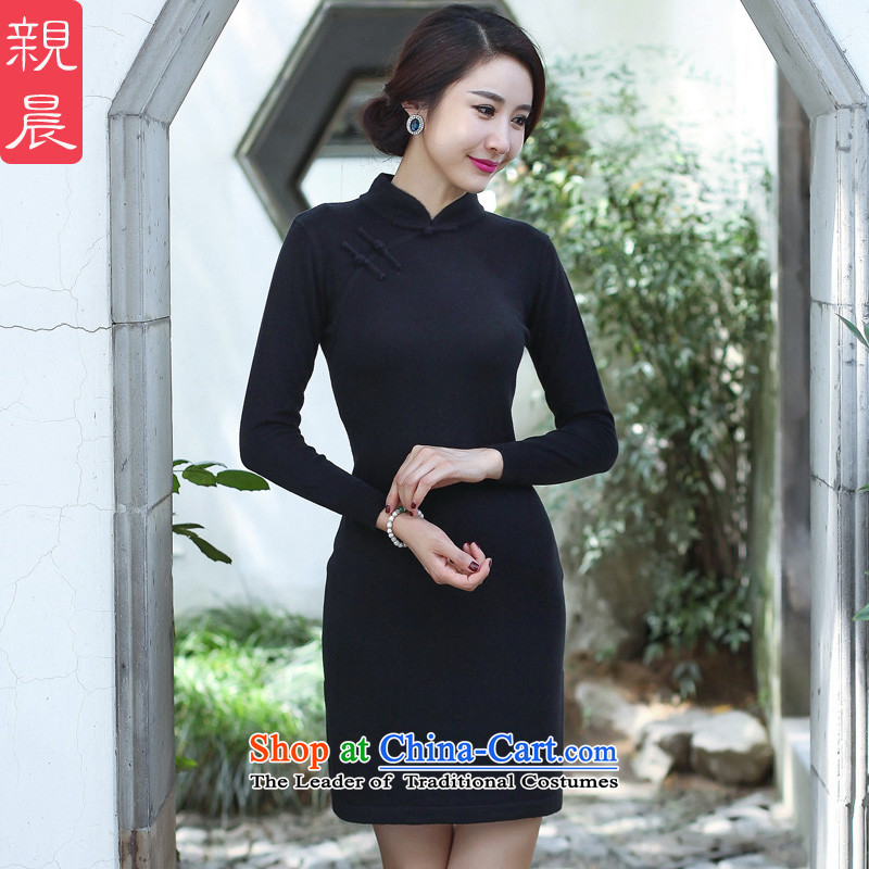 2015 Fall/Winter Collections cheongsam dress Stylish retro new improved day-to-day long-sleeved shirt woolen knitted dresses women Sau San Black M
