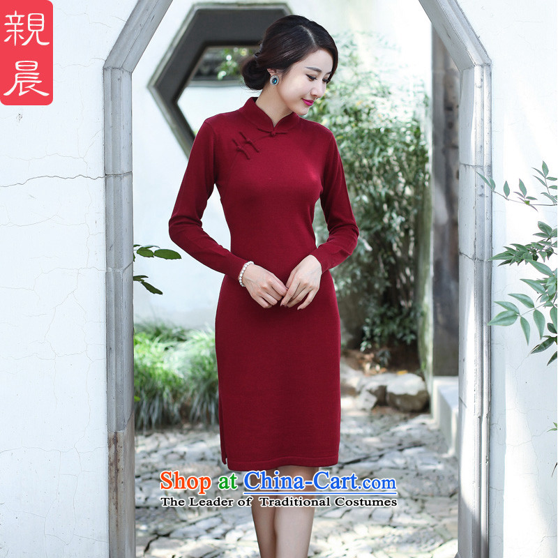 2015 Fall_Winter Collections cheongsam dress Stylish retro new improved day-to-day long-sleeved shirt woolen knitted dresses women Sau San wine red�L
