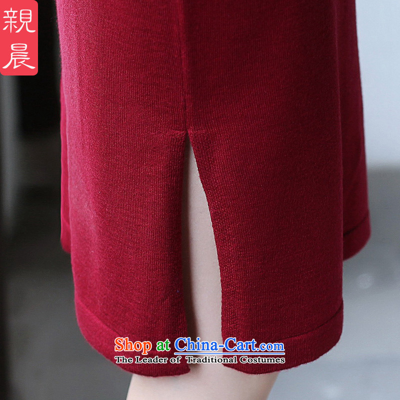 2015 Fall/Winter Collections cheongsam dress Stylish retro new improved day-to-day long-sleeved shirt woolen knitted dresses women Sau San wine red 2XL, pro-am , , , shopping on the Internet