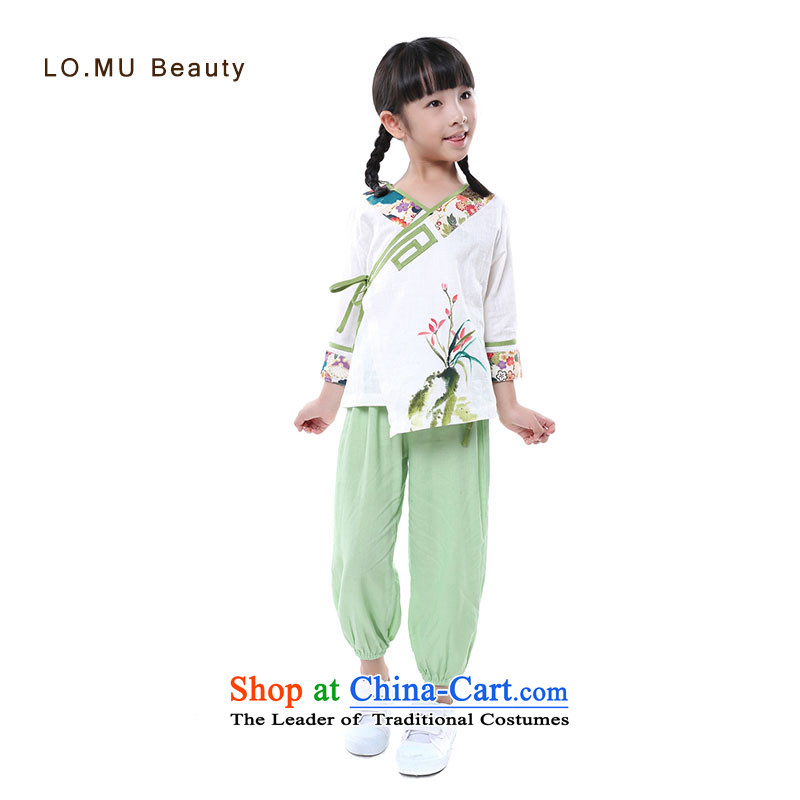 The new 2015 Autumn Chinese scholar, the children's wear elastic waist retro trunkhose girls Casual Trousers light yellow 95cm(3 ),LO.MU code beauty,,, shopping on the Internet