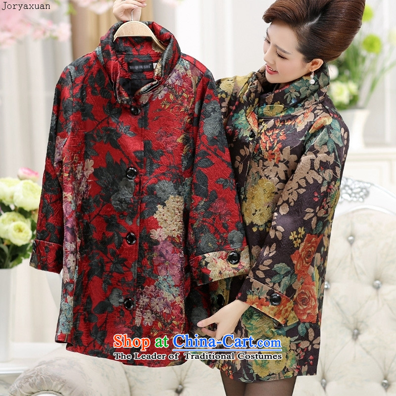 Web soft clothes middle-aged moms replacing autumn new) Older women in autumn jacket Long Hoodie 40-50-year-old?YQJ158?XXXL red