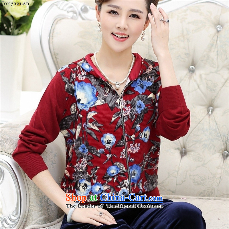 Web soft clothes in 2015 new older Kit Kim Choo replacing middle-aged female velvet female sets with cap mother both leisure piece green suit燲L115
