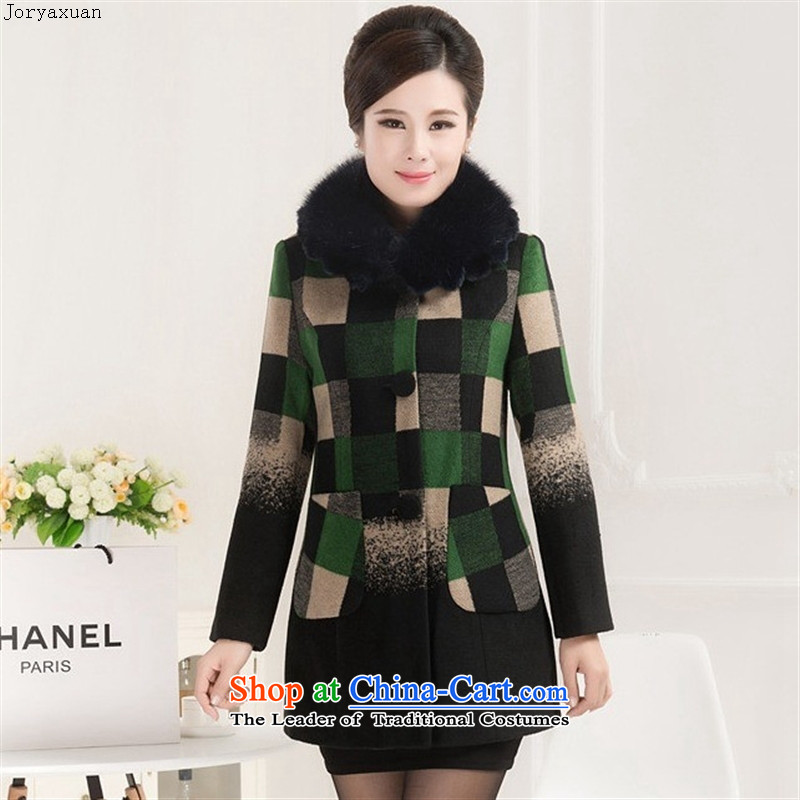 Web soft clothes in 2015 new older women in spring and autumn, replacing the mother with female wool coat green grid tick?燲XL