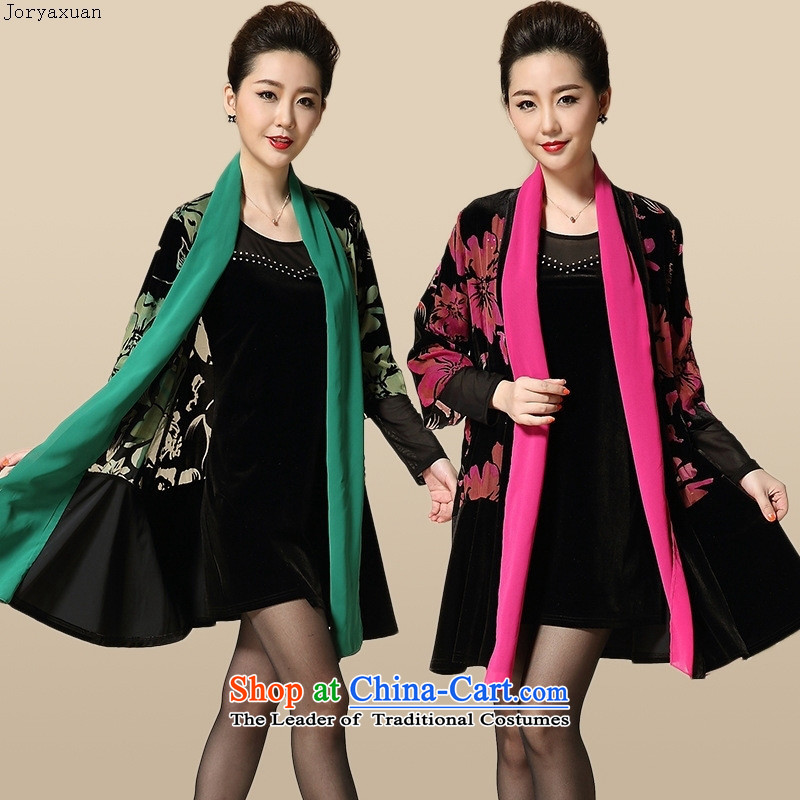 Web soft clothes in 2015 new large load fall of older women's dresses kit Korean version GOLDEN PLUSH mother burned out two kits green燣