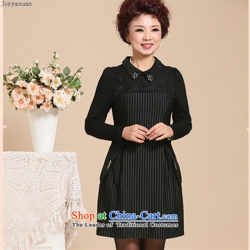 Web soft clothes 2015 new MOM pack autumn graphics thin long-sleeved in older women's large lace. Middle-aged long skirt Black燲L suitable for a ban on landmines 90 - 98 24