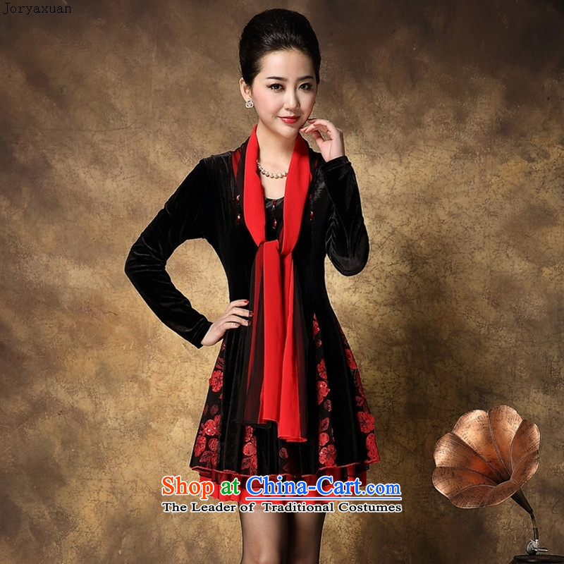 Web soft clothes with new autumn 2015 Korean version of large numbers of ladies' high-end scouring pads to increase older Dae-jung with skirt safflower mother-燲XL