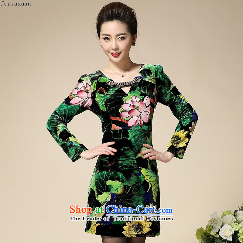 Web soft clothes with new autumn 2015 upscale Kim velvet long-sleeved large 40-50 in older MOM pack green聽XXL, Cheuk-yan xuan ya (joryaxuan) , , , shopping on the Internet