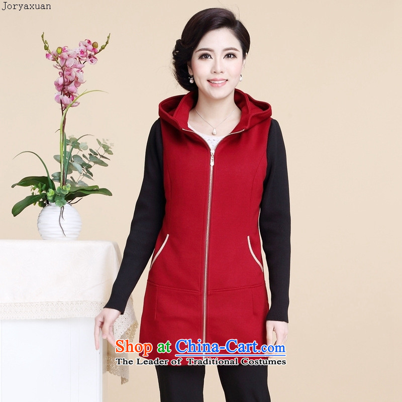 Web soft clothes in the autumn of 2015, the new elderly woman fall in gross load? long long-sleeved jacket for larger mother blouses female black燲XXL
