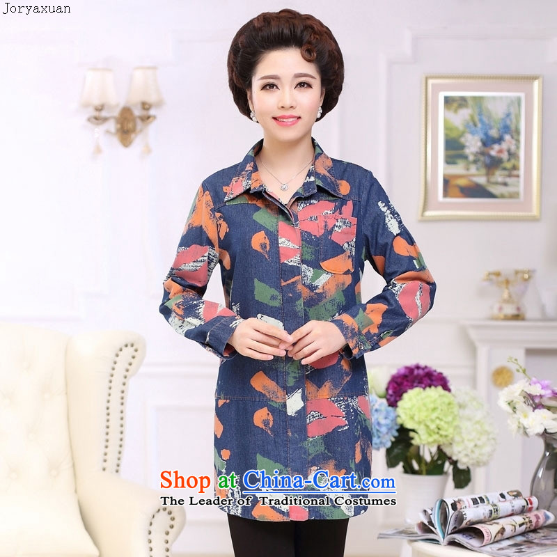 Web soft trappings of older women in the autumn of 2015, the Korean version of the new color plane collision with mother cowboy long-sleeved shirt and women blue toner spent code�L