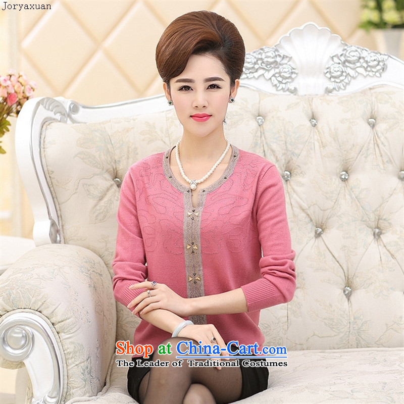 Web soft clothes in 2015 new older women with long-sleeved Knitted Shirt autumn middle-aged moms with large round-neck collar Woolen Sweater Knit Red�5