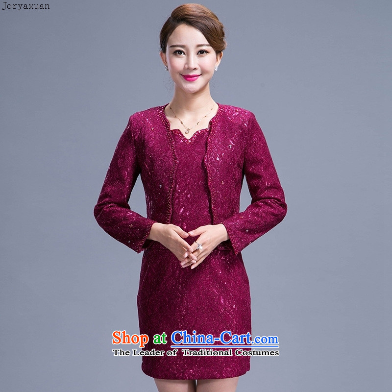 Soft clothes 2015 Autumn web new moms wedding dresses up the atmosphere of older women's larger temperament Sau San mother purple燣