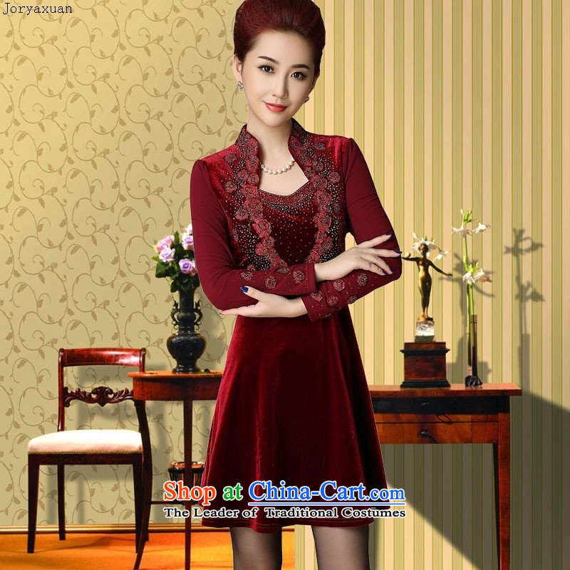 Web soft clothes for the new long-sleeved_ Choo Top Loin video thin velvet elderly mother replacing Kim scouring pads red velour cuff�L_ high-end atmospheric high grade_