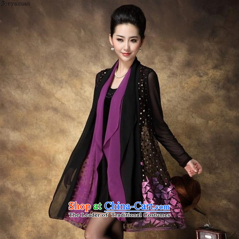 Web soft clothes for the new paragraph 2015 autumn large female retro embroidery two kits video thin atmospheric middle-aged moms with skirt Sau San Violet Grand Code 4XL gauze sleeves