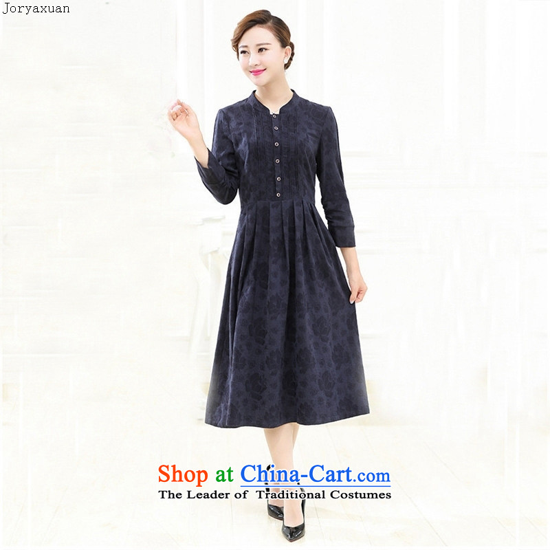Web soft clothes new products autumn 2015 collar retro pattern in the folds of the Sau San large wind cotton linen dresses with mother female red燲XXL