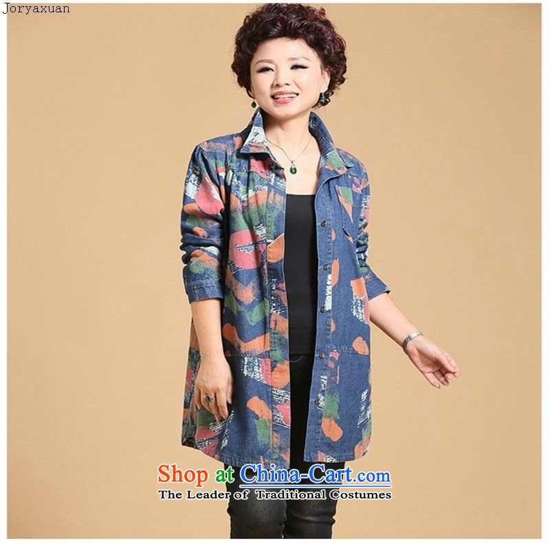 Web soft dress jacket autumn load mother large middle-aged replacing older long-sleeved shirt denim dress windbreaker�XXXL daisy-chained