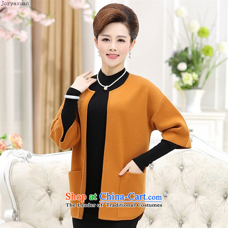 Web soft trappings of older autumn new woolen sweater, mother replacing large cardigan thick sweater jacket middle-aged women Knitted Shirt honey WONG?XL