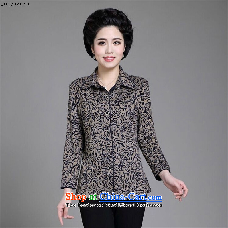 Web soft clothes in 2015 new Older Women during the spring and autumn replacing long-sleeved shirt with his grandmother in stylish mother summer shirt�XXXXL blue flowers