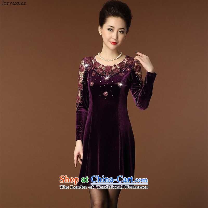Web soft clothes 2015 Autumn In New large older wedding Lace Embroidery on load mother Kim velvet violet燲XXL
