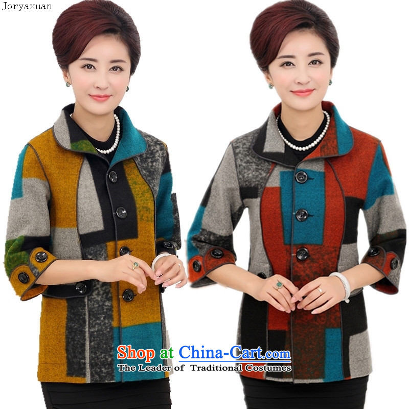 In 2015 Apparel soft web older autumn jackets of 7 to a T-shirt-sleeves for larger mother replacing Fall_Winter Collections middle-aged female replacing latticed red燲XXL