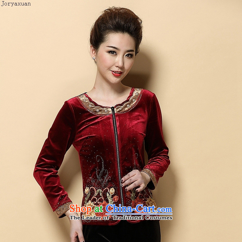 Web soft clothes for the new autumn 2015) Older women wear t-shirt with round collar Kim long-sleeved blouses mother velvet violet�S