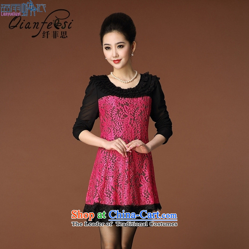 September Girl Store *2015 autumn and winter lace collar mesh sleeve embroidery larger women's mother load Foutune of elderly people in the Sau San dresses Black�XL
